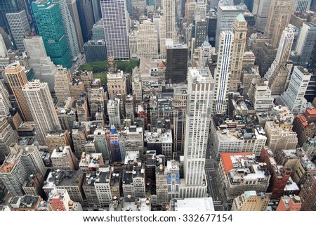 New York, USA - August 20, 2012: aerial view of skyscrapers and buildings in Manhattan, New York City. The district is one of the most densely populated in the USA.  - stock photo
