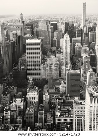 NEW YORK,USA - AUGUST 15,2015 : Black and white aerial view of midtown New York City including the Rockefeller Center - stock photo