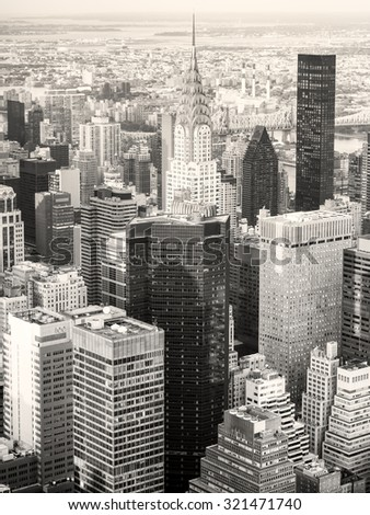 NEW YORK,USA - AUGUST 15,2015 : Black and white view of New York City including the Chrysler Building - stock photo