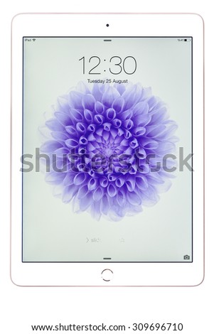 New York, USA - August 26, 2015:Brand new white Apple iPad Air 2, 6th generation of the iPad, developed by Apple inc. and was released on October 16, 2014 - stock photo