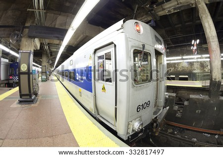 New York, USA - August 15, 2015: Fisheye lens photo of MTA train at the Grand Central Terminal. The MTA is North America's largest transportation network with 8856 rail and subway cars.
