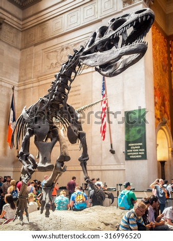 NEW YORK,USA - AUGUST 17,2015 :  Giant Tyrannosauris Rex at the lobby of the  American Museum of Natural History - stock photo