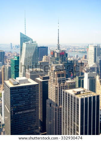NEW YORK,USA - AUGUST 15,2015 : Skyscrapers in New York City including the Conde Nast building and the Bank of America tower - stock photo