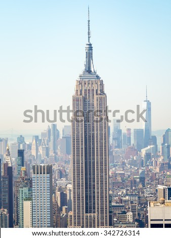 NEW YORK,USA- AUGUST 15,2015 : The Empire State Building and the Manhattan skyline in New York City - stock photo