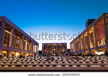 NEW YORK, USA - AUGUST 2011:  The Lincoln Center on August 10, 2011.  The Lincon Center is also home to the Metropolitan Opera House. - stock photo