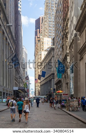NEW YORK,USA - AUGUST 13,2015 : Wall Street at Manhattan's Financial District in New York City