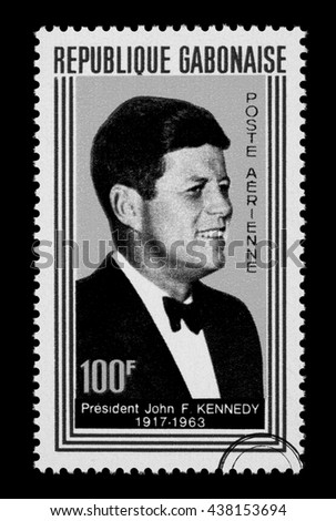 NEW YORK, USA - CIRCA 2010: A postage stamp printed in Gabon showing John F. Kennedy, circa 1960 - stock photo