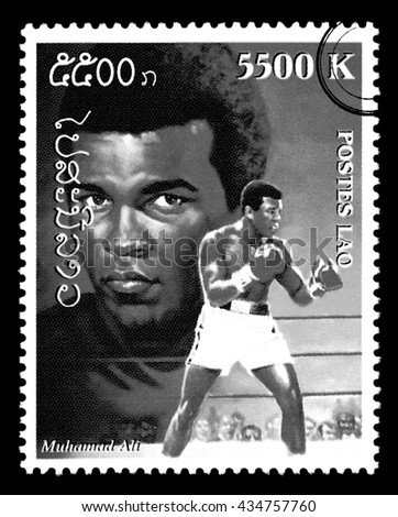 NEW YORK, USA - CIRCA 2010: A postage stamp printed in Laos showing Muhammad Ali, circa 1999 - stock photo