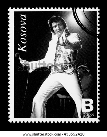 NEW YORK, USA - CIRCA 2010: A postage stamp printed in the Republic Of Kosovo showing Elvis Presley, circa 1999