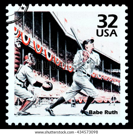 NEW YORK, USA - CIRCA 2010: A postage stamp printed in the USA showing Babe Ruth, circa 2002 - stock photo