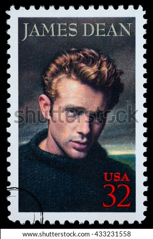 NEW YORK, USA - CIRCA 2010: A postage stamp printed in the USA showing James Dean, circa 2000 - stock photo