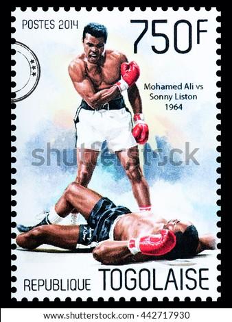 NEW YORK, USA - CIRCA 2016: A postage stamp printed in Togo showing Muhammad Ali, circa 2014 - stock photo