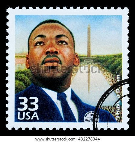 NEW YORK, USA - CIRCA 2010: A postage stamp printed in USA showing Martin Luther King, circa 1985 - stock photo