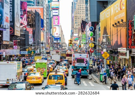 NEW YORK, USA - CIRCA MAY 2015: Pedestrians and Vehicles move along Broadway in Times Square in New York City. - stock photo