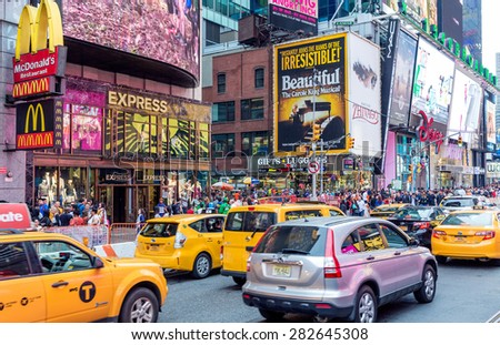 NEW YORK, USA - CIRCA MAY 2015: Vehicles move along Broadway in Times Square in New York City. - stock photo