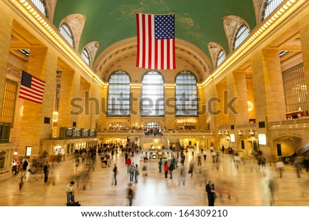 NEW YORK, USA - CIRCA SEPT. 2009: Main lobby at Grand Central Terminal circa September 2009 in New York City. Grand Central Terminal is the largest train station in the world by number of platforms. - stock photo
