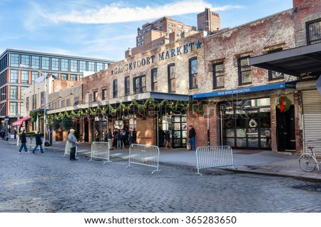 New York, USA - December 29, 2014: Exterior of Gansevoort Market. Set in a historic building in the Meatpacking District, this all day food hall brings together a variety of counter-serve eateries. - stock photo