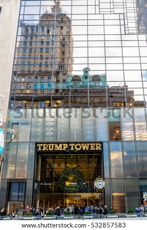 New York, USA - December 09, 2016: Facade of the Trump Tower, residence of president elect Donald Trump