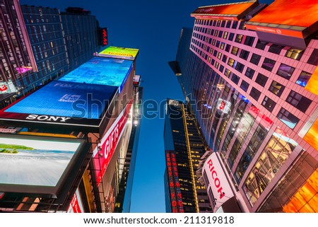 NEW YORK, USA - DECEMBER 20, 2013: Times Square in Downtown Manhattan - stock photo