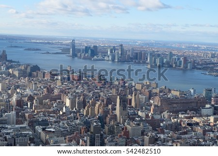 New York, USA, December 3, 2016 : West side view of Manhattan downtown along with hudson river from Empire State Building in New York