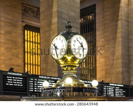 NEW YORK, USA / 08.02.2015 - Famous clock on the information booth of Grand Central Station - stock photo