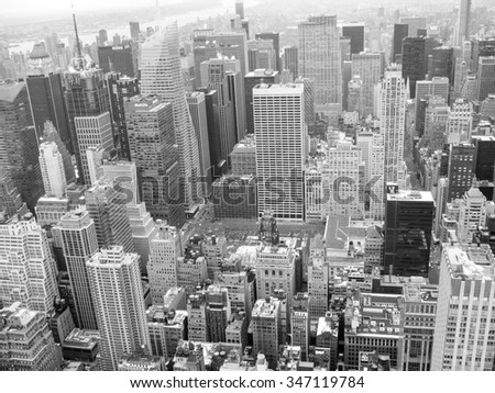 NEW YORK, USA - FEBRUARY 14, 2015: Aerial view of Manhattan in black and white