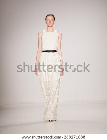 New York, USA - February 18, 2015: Erin Fetherston Runway at Lincoln Center for Mercedes Benz Fashion week Showing her Fall / Winter Collection for 2015  - stock photo