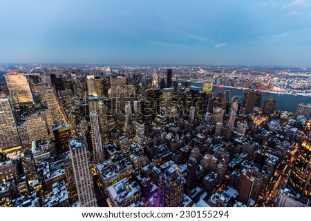 NEW YORK, USA - February 30,2014: Manhattan from the air.