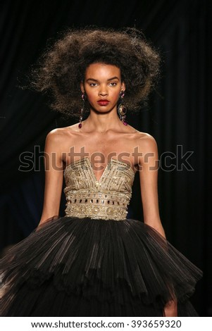 New York, USA - February 12, 2016: Naeem Kahn's Runway at the Skylight at Moynihan Station for New York Fashion week Showing his Fall / Winter Collection for 2016 - stock photo