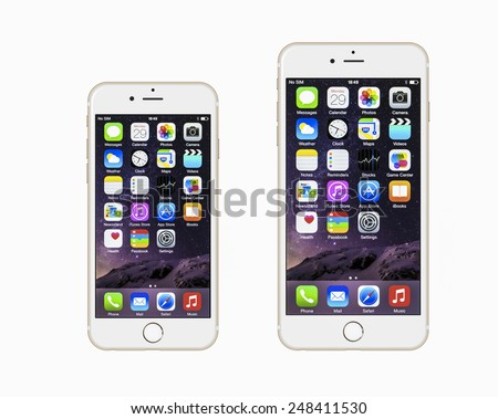 New York, USA - January 22, 2015: Front view of a gold color iPhone 6 and iPhone 6 Plus - stock photo