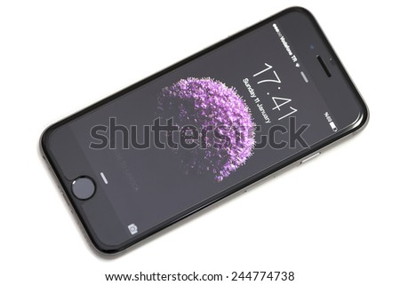New York, USA - January 11, 2015: Front view of a space grey color iPhone 6 - stock photo
