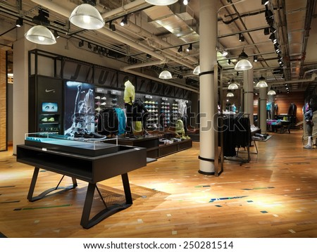 New york. USA-January. 22 2015;Nike running concept store in NYC.Nike is one of famous sports fashion brands worldwide and it is one of the world's largest suppliers of athletic shoes and apparel.