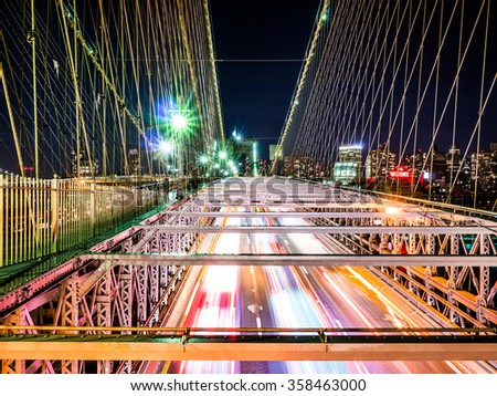 NEW YORK, USA - JANUARY 5, 2015: The Brooklyn Bridge receives thousands of cars each day.