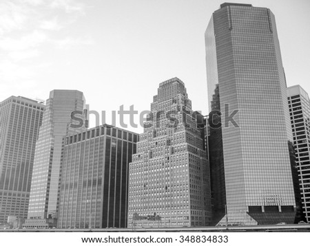 NEW YORK, USA - JANUARY 18, 2012: View of modern architecture in Manhattan in black and white