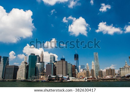 NEW YORK, USA - JULY 16, 2012: Aerial view of New York City Downtown Skyline.