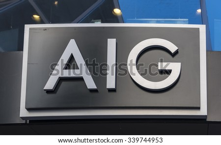 NEW YORK,USA-JULY 3,2015:AIG or American International Group signage. AIG is an American multinational insurance corporation with operations in 130 countries across the world.