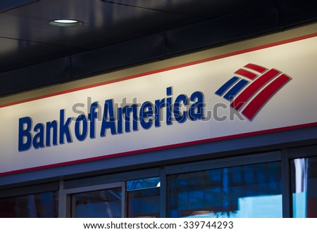 NEW YORK,USA-JULY 3,2015:Bank of America signage and logo pictured.Bank of America is an American multinational banking and financial services corporation headquartered in Charlotte, North Carolina.