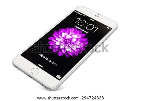 New York, USA - July 05, 2015: Front view of a  silver-white  color iPhone 6 showing the home screen with iOS8. Isolated on white. - stock photo