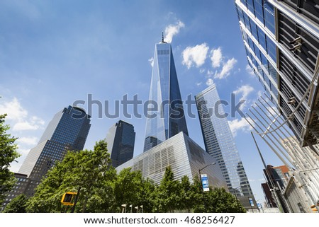 NEW YORK,USA - July 20, 2016 : One World Trade Center also known as The Freedom Tower in downtown Manhattan, New York City