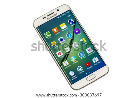 "New York, USA - July 26, 2015: Studio shot of a White Pearl Samsung Galaxy S6 Edge smartphone. Samsung Galaxy S6 is supported with 5.1"" touch screen display and 1440 x 2560 pixels resolution"
