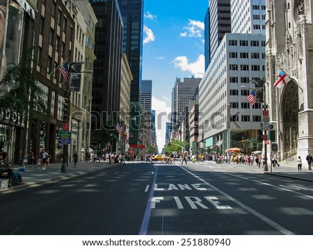 NEW YORK, USA - JULY 1, 2007: Unidentified people on the street of New York. At 2010 population of New York City was more than 19 million. - stock photo