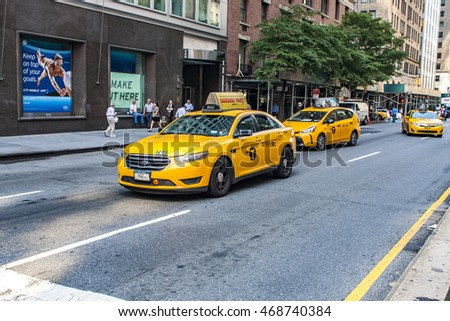 NEW YORK, USA - JULY 29, 2016: Unidentified people on the street of New York. With more than 8 million citizens it is the most populous city in the United States