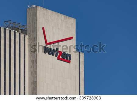 NEW YORK,USA-JULY 3,2015:Verizon signage and logo on its building at 375 pearl street, New York city. The building is windowless and has a simple architecture.
