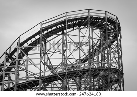 NEW YORK, USA - JUNE 12, 2014: Coney Island's fairground attraction. Coney Island Luna Park has every year about 450,000 visitors with over 1.7 million rides. - stock photo