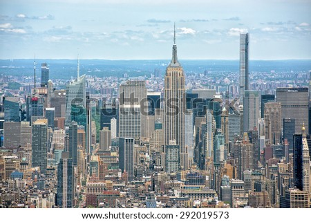 NEW YORK - USA - 13 JUNE 2015 manhattan aerial view from highest in the city freedom tower