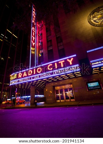 NEW YORK, USA - JUNE 28th 2014: Radio City Music Hall in Rockefeller Center is home of the Rockettes and the famous Christmas Spectacular - stock photo