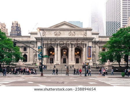 New York, USA - June 9, 2014: The classical facade of the New York Public Library on Fifth Avenue at 42nd Street. - stock photo