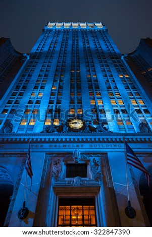 NEW YORK, USA - JUNE 13, 2014: The Helmsley Building in New York, NY. The 35-story building is the tallest in the Grand Central Terminal Complex and was designated a city landmark in 1987. - stock photo