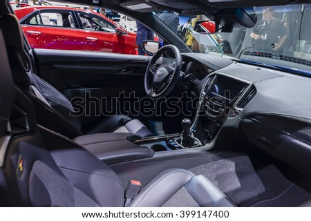NEW YORK, USA - MARCH 23, 2016: Cadillac ATS-V interior on display during the New York International Auto Show at the Jacob Javits Center.