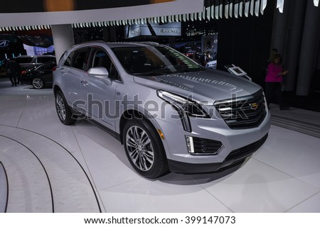 NEW YORK, USA - MARCH 23, 2016: Cadillac XT5 on display during the New York International Auto Show at the Jacob Javits Center.